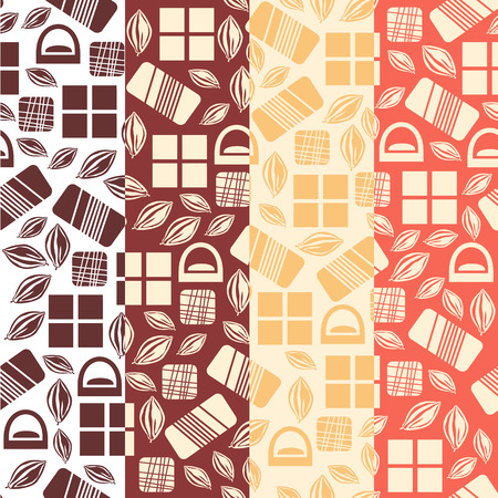 used items: Set of seamless pattern with chocolate sweets. Assortment of chocolate items. Various tasty gourmet products. Can be used for wallpaper and wrapping paper. Mix. Vector Illustration