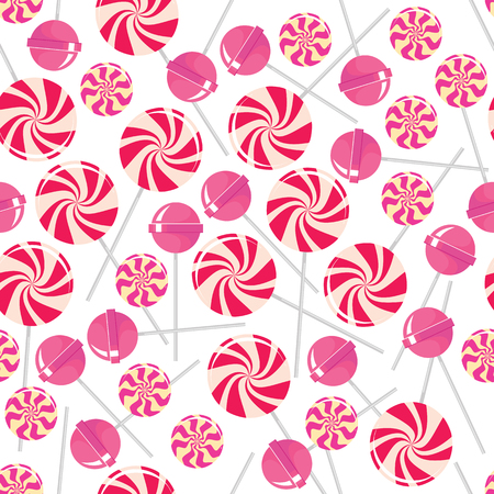 bonbon: Seamless pattern with pink lollipops. Pink tasty candies isolated on white background. Delicious sweet treat. Confectionery bonbon. Decorative paper. Caramel dessert. Vector design illustration