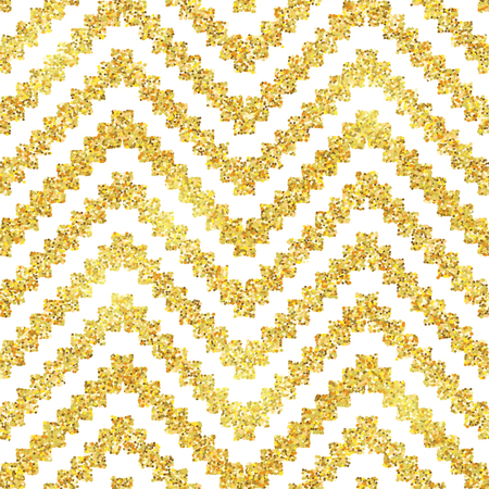 Hand drawn golden seamless pattern. Vector illustration for gold design. Ethnic motif. Zigzag and stripe line. Yellow and white colors. For invitation, web, textile, wallpaper, wrapping paper.