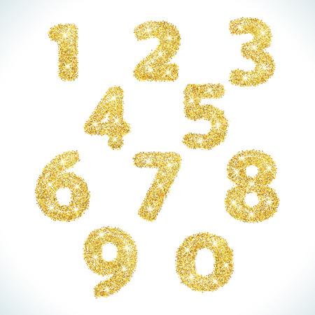 Liczby zawarte w złotym stylu. ilustracji wektorowych złota wygląd. Założona przez żółtych kształtów. Dla twórców stron, karty okolicznościowe, transparent lub zaproszenia. Śliczne ikony i znaki numeryczne. Ilustracje wektorowe
