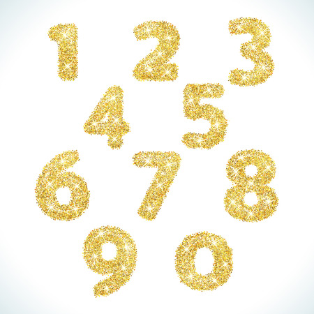 4 7: Numbers set in golden style. Vector illustration gold design. Formed by yellow shapes. For party poster, greeting card, banner or invitation. Cute numerical icons and signs.