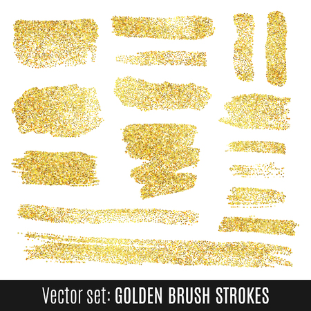 splatter paint: Set of golden watercolor brush stroke isolated on white background. Vector illustration for grunge design. Hand painted stain. Yellow gold color. Illustration