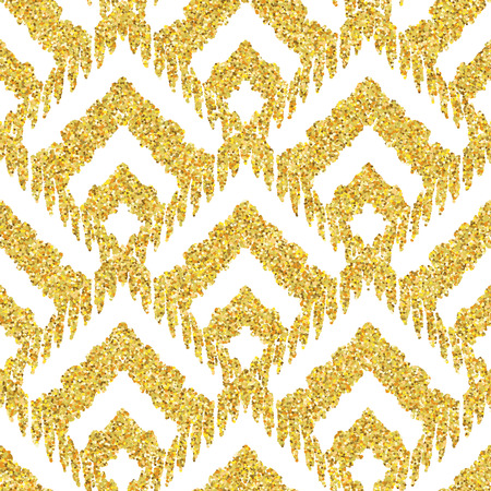 glitter background: Hand drawn golden seamless pattern. Vector illustration for gold design. Ethnic motif. Zigzag and stripe line. Yellow and white colors. For invitation, web, textile, wallpaper, wrapping paper.