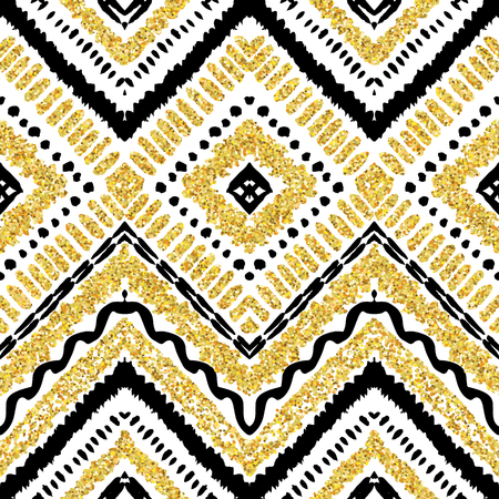 motif: Hand drawn golden seamless pattern. Vector illustration for gold design. Ethnic motif. Zigzag and stripe line. Yellow and white colors. For invitation, web, textile, wallpaper, wrapping paper.