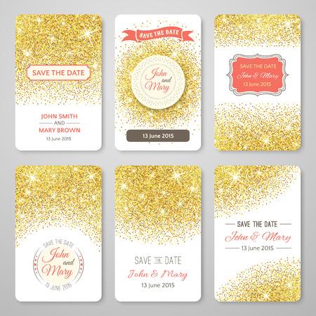 aniversario de bodas: Conjunto de modelos perfectos de la boda con tema de confeti dorado. Ideal para ahorran la fecha, ducha del bebé, día de madres, del día de san, tarjetas de cumpleaños, invitaciones. Ilustración del vector para el diseño de oro.