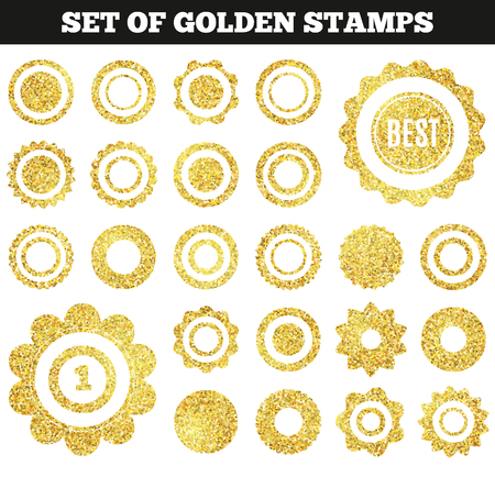 stamp collection: Set of golden grunge stamp. Round shapes. Vector illustration for premium design. Yellow and white colors. Collection gold frame for luxury style. Vip border for rich card.