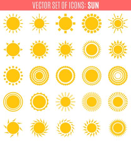 sunburst: set of sun icons isolated on white background. Creative yellow sunlight symbols. Elements for weather forecast design. Solar system. Sunrise And sunset. Editable items. Flat design graphic. Vector