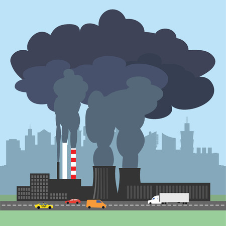 A conceptual vector illustration showing the polluted smoke from a factory chimney over a city. Causes of air pollution, acid rains and green house effect. Ecological disaster. Industrial problems.