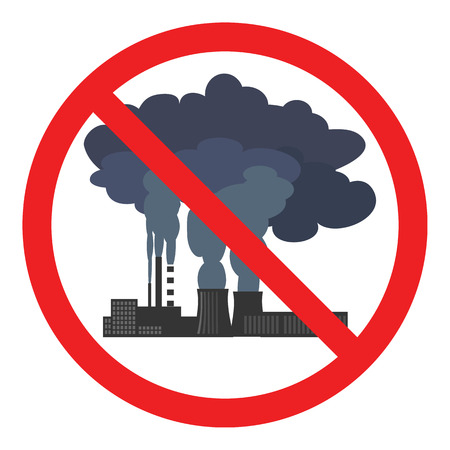Stop air pollution sign. Conceptual vector illustration showing the polluted smoke from a factory chimney over a city. Ecological disaster. City smog. Toxic waste. Environmental protection