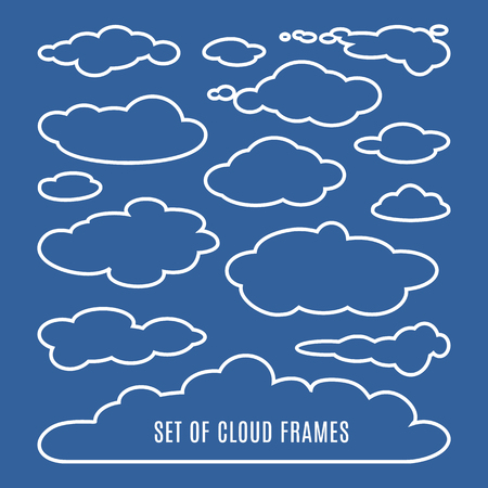 cloudscape: Editable  illustration of clouds isolated on dark blue background. Set of clouds of different shapes. Great collection of cloudscape elements. Heaven pattern. Meteorology. Vector design illustration
