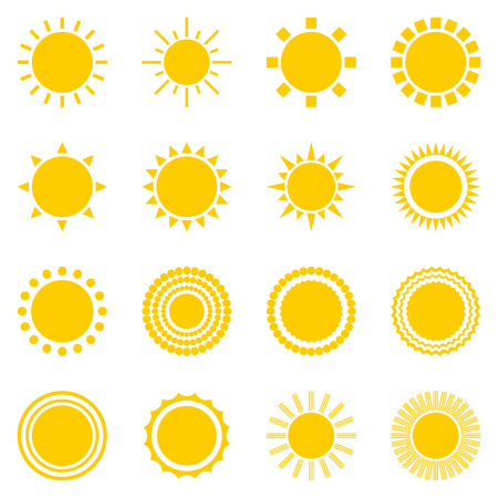 sonne: Satz von Sonne auf weißem Hintergrund Symbole. Creative-gelben Sonnenlicht Symbole. Elemente für die Wettervorhersage Design. Sonnensystem. Sonnenaufgang und Sonnenuntergang. Editierbare Elemente. Flaches Design Grafik. Vektor