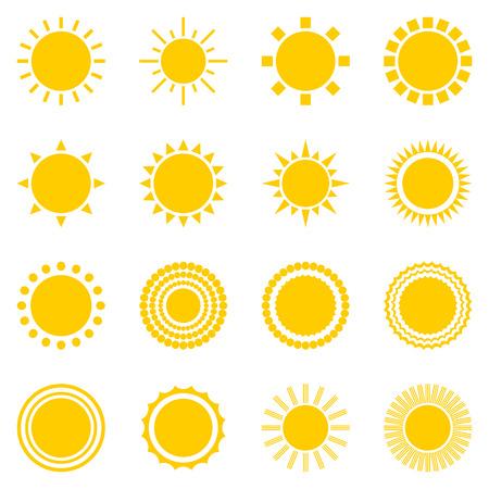 słońce: zestaw ikon Sun wyizolowanych na białym tle. Pień żółty symbolika światła słonecznego. Elementy dla prognozy pogody projektu. Układ Słoneczny. Wschód i zachód słońca. Edytowalne pozycje. Płaski projekt graficzny. Wektor Ilustracja