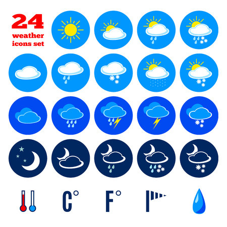 climate changes: Collection of weather forecast icons. Symbols for climate changes  diagnostic. Editable elements isolated on white background. Mobile interface buttons. Flat design graphic. Vector  illustration