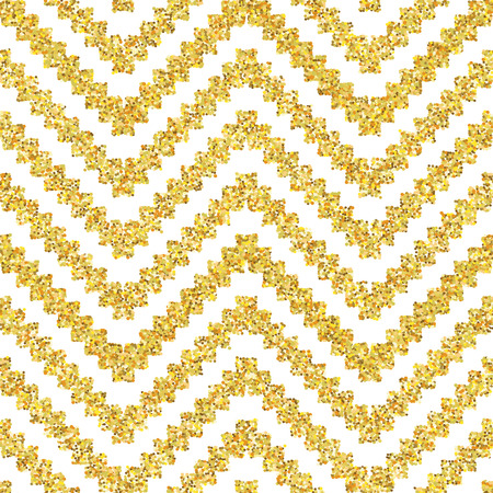 zigzag: Hand drawn golden seamless pattern. Vector illustration for gold design. Ethnic motif. Zigzag and stripe line. Yellow and white colors. For invitation, web, textile, wallpaper, wrapping paper.