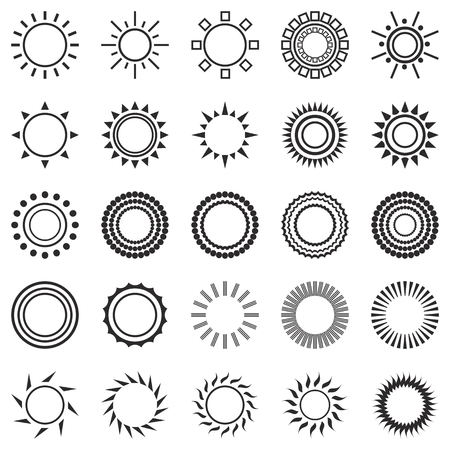 set of sun icons isolated on white background. Creative black sunlight symbols. Elements for weather forecast design. Solar system. Sunrise And sunset. Editable items. Flat design graphic. Vector