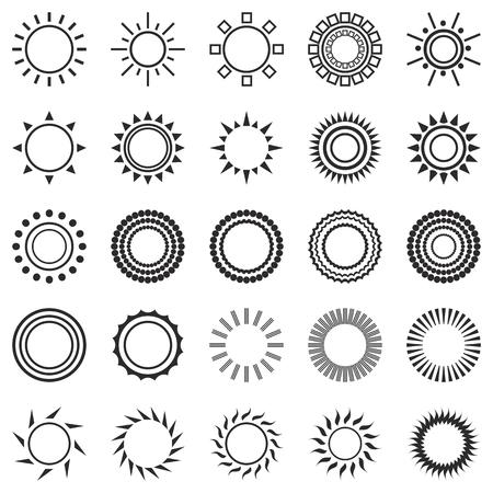 set di icone del sole isolato su sfondo bianco. Creativi simboli luce del sole neri. Elementi per la progettazione previsioni del tempo. Sistema solare. Alba e tramonto. oggetti modificabili. graphic design piatto. Vettore