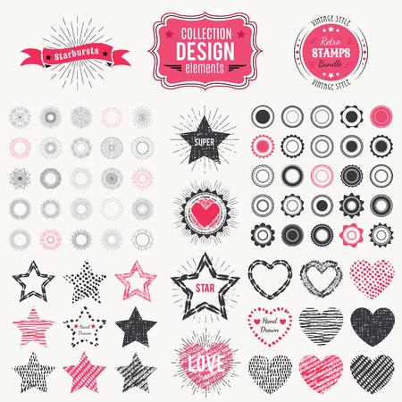 sello: Colección de elementos de diseño de primera calidad. Ilustración del vector para la insignia del vintage. constructor retro. Conjunto de starbursts, sellos, marcos, del corazón y de la estrella formas.