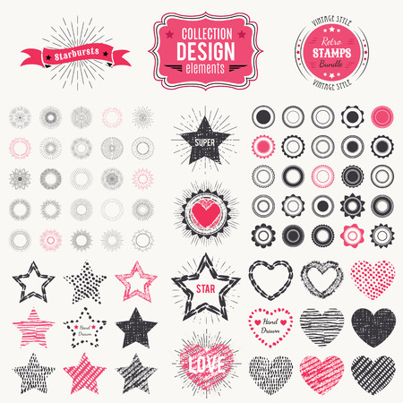 pretty: Collection of premium design elements. Vector illustration for chic vintage insignia. Retro constructor. Set of starbursts, stamps, frames, heart and star shapes.