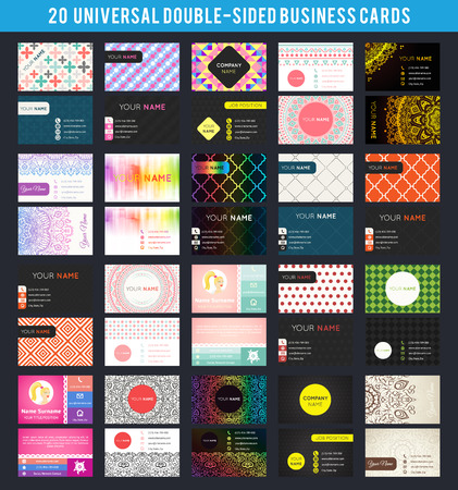 Big set of universal double-sided business card templates. Vector illustration for modern design. Different topic styles. Premium card collection. With patterns, ornaments, abstract backgrounds.