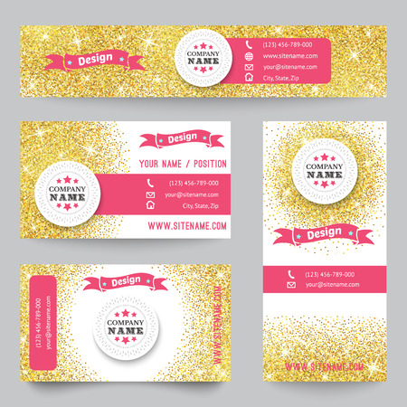 pink vintage: Set of corporate identity templates with golden theme. Vector illustration for pretty design. Ethnic gold vintage frame. Pink, yellow and white colors. Border, frame, icon elements. Illustration