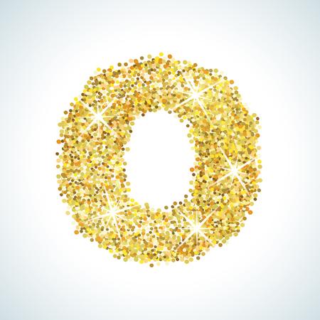 Zero numero in stile d'oro. Vector design illustrazione oro. Formata da forme di colore giallo. Per party poster, cartolina d'auguri, banner o invito. Carino icona numerica e segno.