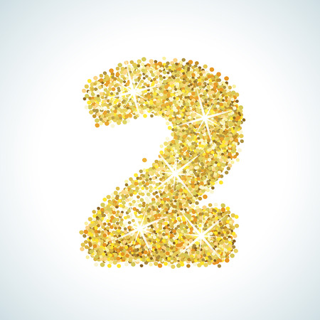 deuce: Two number in golden style. Vector illustration gold design. Formed by yellow shapes. For party poster, greeting card, banner or invitation. Cute numerical icon and sign.