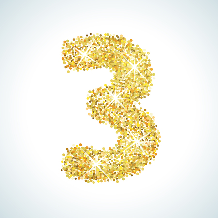 numerical: Three number in golden style. Vector illustration gold design. Formed by yellow shapes. For party poster, greeting card, banner or invitation. Cute numerical icon and sign.