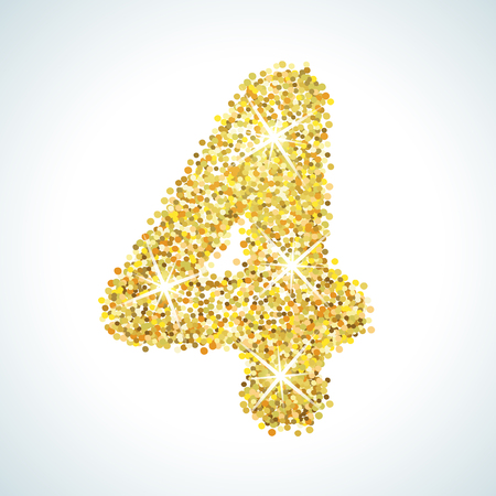 numerical: Four number in golden style. Vector illustration gold design. Formed by yellow shapes. For party poster, greeting card, banner or invitation. Cute numerical icon and sign.