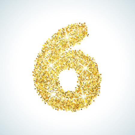 numerical: Six number in golden style. Vector illustration gold design. Formed by yellow shapes. For party poster, greeting card, banner or invitation. Cute numerical icon and sign. Illustration