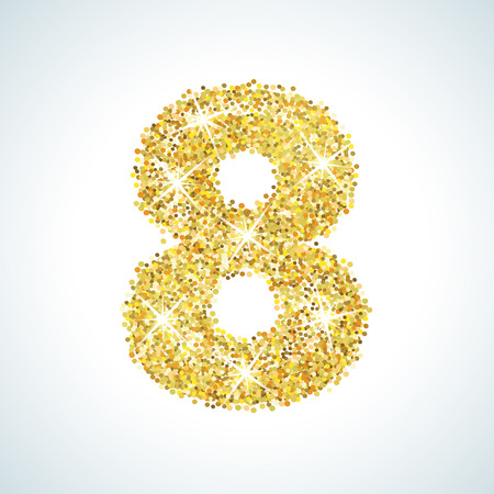 numerical: Eight number in golden style. Vector illustration gold design. Formed by yellow shapes. For party poster, greeting card, banner or invitation. Cute numerical icon and sign. Illustration