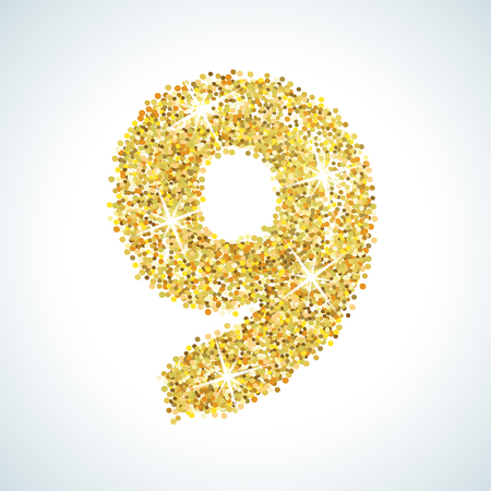 numerical: Nine number in golden style. Vector illustration gold design. Formed by yellow shapes. For party poster, greeting card, banner or invitation. Cute numerical icon and sign.