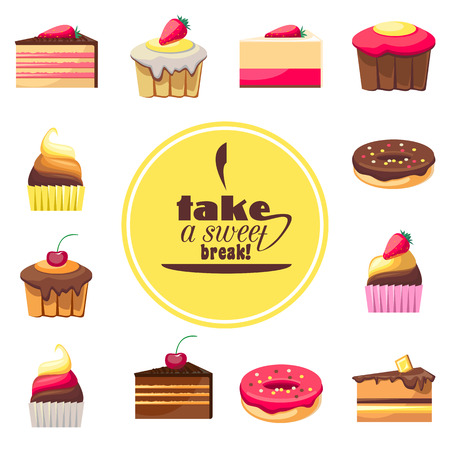 baked goods: Set of eight delicious biscuits. Yummy cupcakes, donuts and muffins.  Illustration
