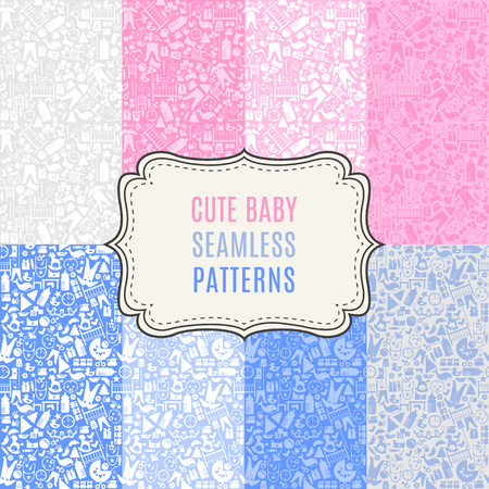 playroom: 8 Cute baby vector seamless patterns. Illustration