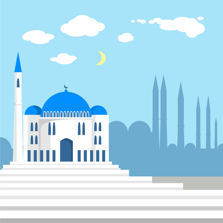 city background: Mosque on the background of islamic city silhouettes.