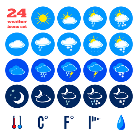 day forecast: Collection of weather forecast icons. Illustration