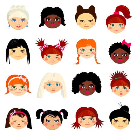 Avatar set with women of different ethnicity origin.