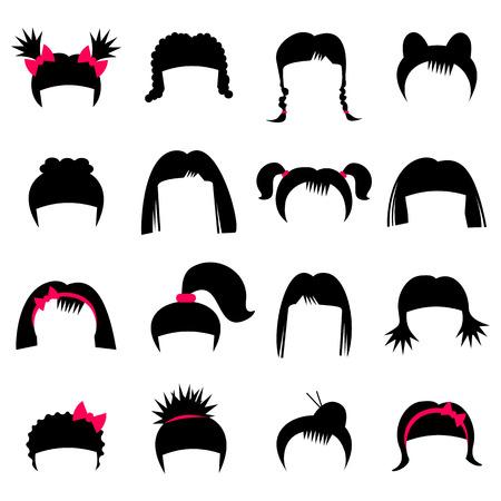 hairstyle: Hairdresser set isolated on white background. Illustration