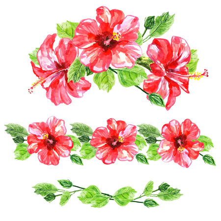 tropical flower: Set of red watercolor Hibiscus flower. Illustration isolated on white background. Colorful floral collection with leaves and flowers, hand drawn. Spring or summer design for invitation, wedding or greeting cards.