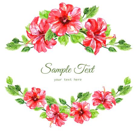 Feld von den roten Aquarell Hibiskusblüten. Illustration isoliert auf weißem Hintergrund. Bunte Blumensammlung mit Blättern und Blumen, von Hand gezeichnet. Frühling oder Sommer-Design für die Einladung, Hochzeit oder Grußkarten.