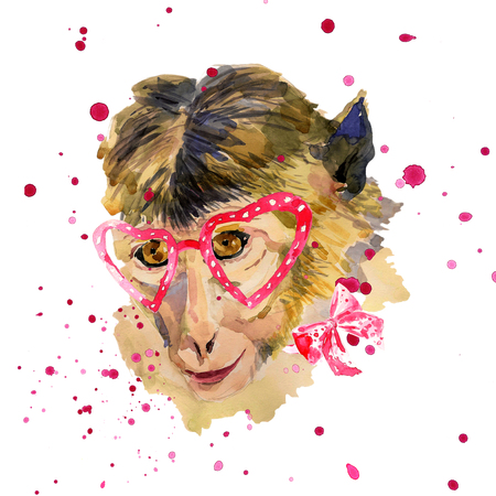 china watercolor paint: Watercolor monkey in red  heart shaped glasses. Fashionable animal with a bow. Hand drawn chinese zodiac symbol. Unusual illustration for fashion posters, print, textile, banners, T-shirt, card design Stock Photo