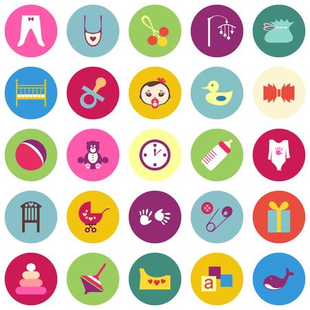 teteros: Conjunto de artículos de bebé colorido con sombras. Veinticinco cosas lindas para niño pequeño. ilustración vectorial diseño plano. Todos los elementos pueden ser fácilmente modificable. Los niños accesorio. día de la ducha del bebé Vectores