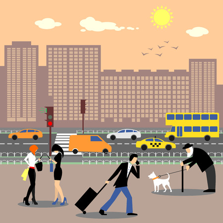 busy city: People in move in the city center. Girls discussing news, man with luggage speaking on telephone, old person walking with dog. Busy traffic and skyscrapers on the background. Cityscape. Vector