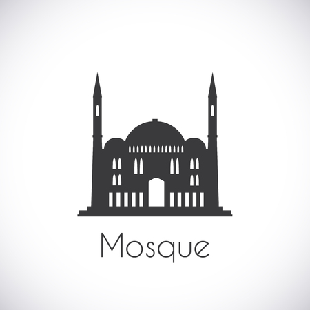religious building: Mosque. Single flat icon on white background. Muslim cathedral. Ramadan Kareem pattern. Traditional arabic architecture. Asian construction. Symbol of east. Religious building. Vector illustration. Illustration