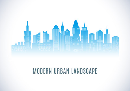 City urban design. Abstract landscape. Cityscape silhouette in blue color. Modern city design with luxurious skyscrapers. Buildings on white background with windows. Vector illustration