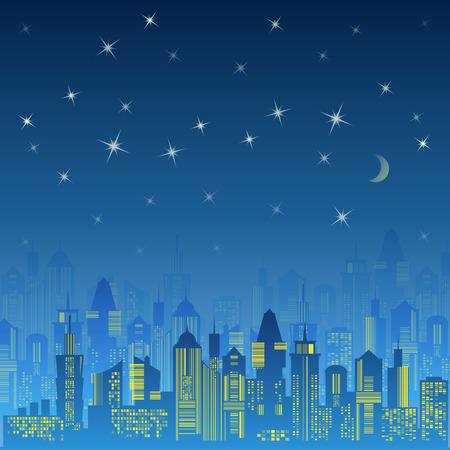 stars night: City urban design. Night landscape. Cityscape silhouette in the evening. Modern city design with luxurious skyscrapers. Buildings on the dark sky background with moon and stars. Vector illustration