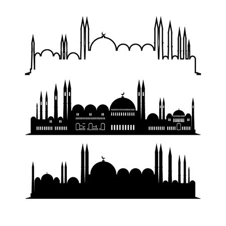 一套清真寺草图。城市设计。白色背景上孤立的城市剪影。矢量平面插图。建设中东。阿拉伯的架构。阿联酋的文化遗产。向量