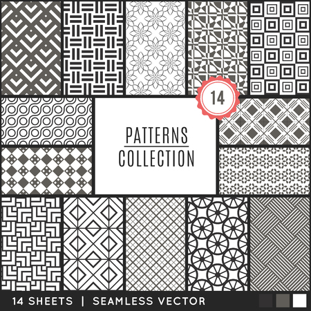 diamond background: Elegant vector seamless patterns. Endless texture can be used for wallpaper, pattern fills, web page background,surface textures. Set of monochrome geometric ornaments.