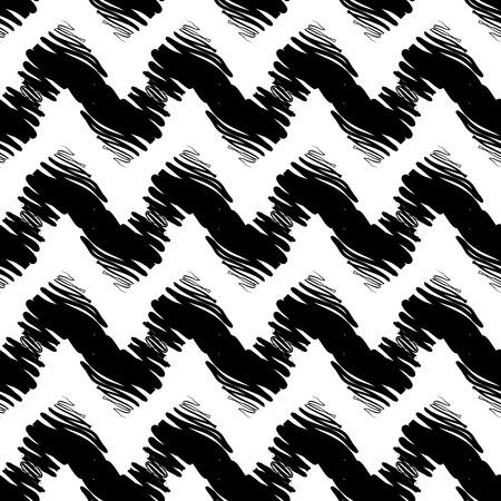 textil: Dibujado a mano pintado sin patrón. Ilustración vectorial para diseño tribal. Motivo étnico. Línea en zigzag y raya. Colores blanco y negro. Por invitación, web, textil, papel pintado, papel de envolver. Vectores
