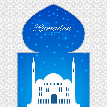 Mosques silhouette on blue night background. Vector flat illustration. Ramadan Kareem label. Greeting card. Holiday design for holy month of muslim community. Illustration