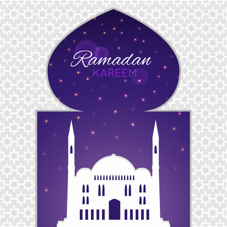 cami: Mosques silhouette on purple night background. Vector flat illustration. Ramadan Kareem label. Greeting card. Holiday design for holy month of muslim community.